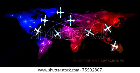 Air travel flight paths dotted lines on world map as commercial airline passenger jets fly air traffic