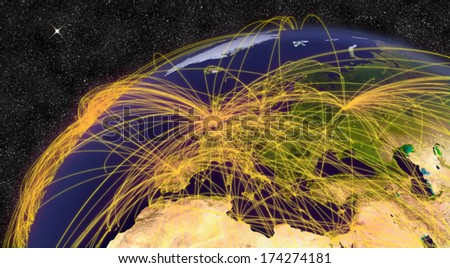 Air travel network over Europe. Elements of this image furnished by NASA.