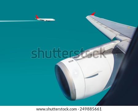 Air travel - Plane traffic  - stock photo