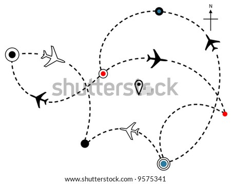 Air travel. Town to city dotted lines are flight paths & travel plans of commercial airline passenger jet airplanes.