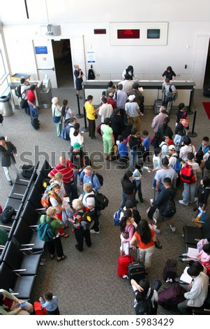 Air Travelers to China at Terminal - stock photo