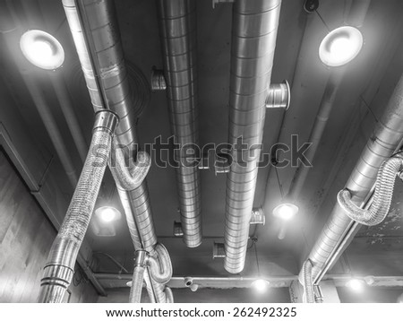 Air Ventilating tube in building - stock photo