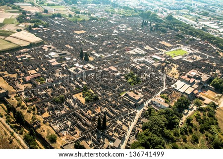 Air view Ruins of an ancient Roman city Pompeii - stock photo