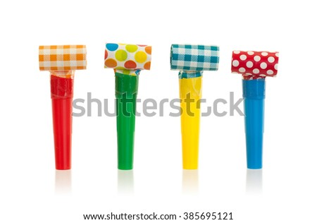 Air whistles isolated on a white background - stock photo