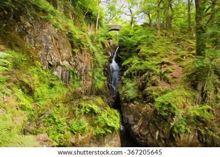 Aira Force waterfall Ullswater Valley Lake District Cumbria England UK in beautiful woodland with bridge illustration like oil painting