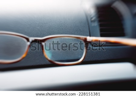 Airbag sign seen through a pair of glasses - stock photo