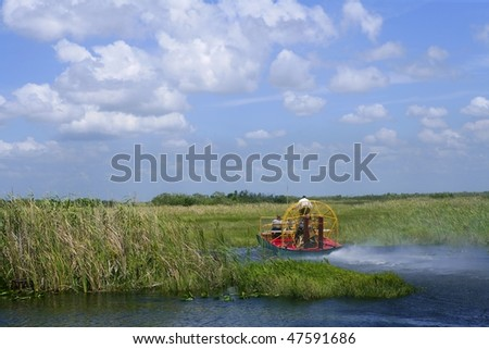 Airboat in Everglades Florida Big Cypress National Preserve - stock photo