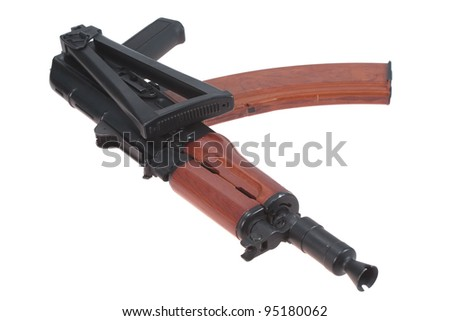 airborne version of kalashnikov rifle isolated on a white background