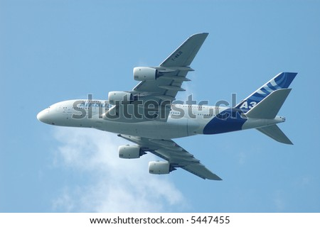 Airbus A380 flying in the sky