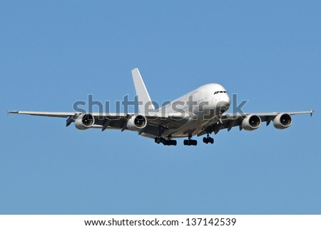 Airbus A380 landing at Dulles International Airport in Virginia, USA. - stock photo