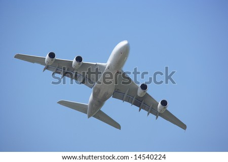 Airbus A 380 low angle view - stock photo