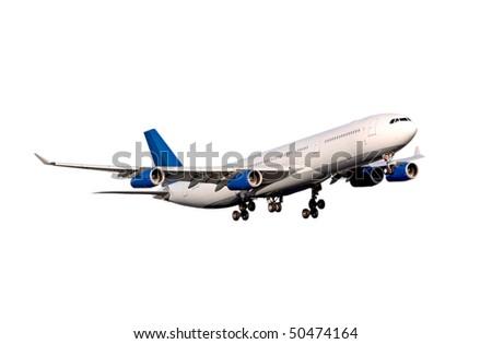Airbus A-340 on white - stock photo