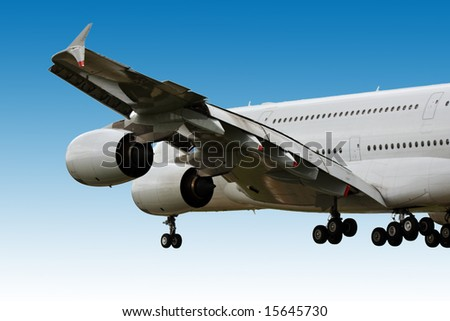 Airbus A380 super jumbo coming in to land - stock photo