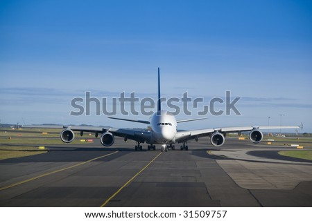 Airbus A380 taxiing - stock photo