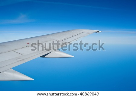 Airbus A-319 wing - stock photo