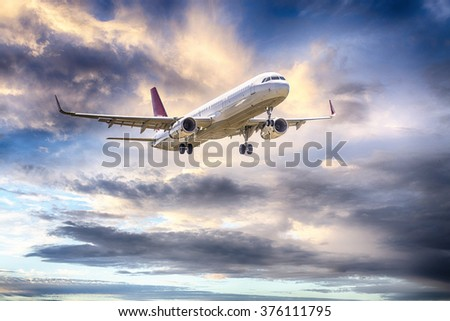 Airbus A-320 with beautiful sky. - stock photo