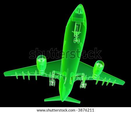 Airbus blueprint rendering. - stock photo