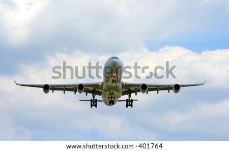 airbus 340 landing - stock photo