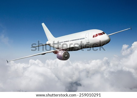 aircraft airliner airplane in the sky  - stock photo