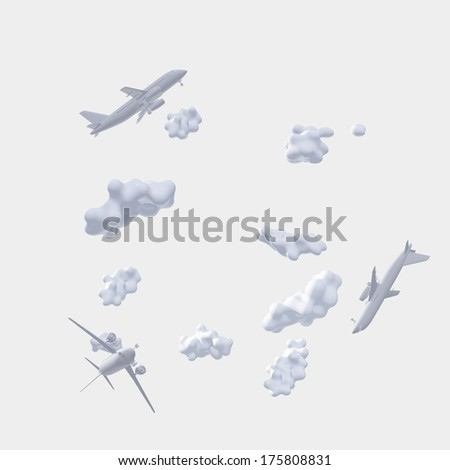 Aircraft and clouds in whites - stock photo