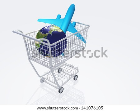 Aircraft and earth in shopping cart - stock photo