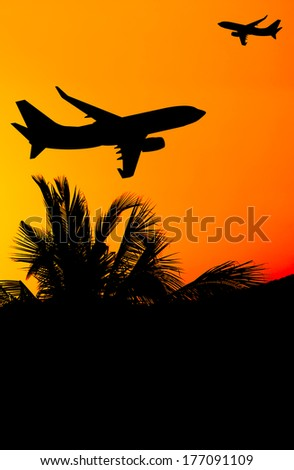 Aircraft and  sunset - stock photo