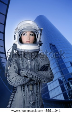 aircraft  astronaut spaceship helmet woman fashion mirror skyscraper blue buildings [Photo Illustration] - stock photo