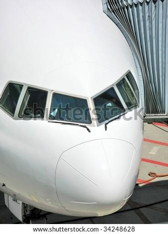 Aircraft at boarding - stock photo