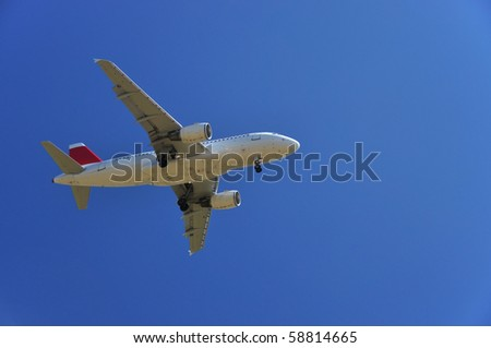 Aircraft at landing - stock photo