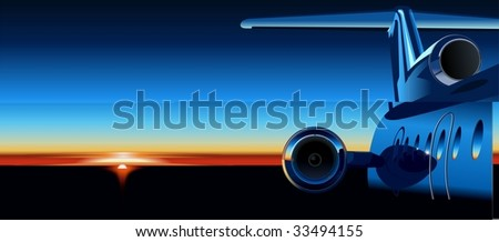 aircraft  at sunrise. Vector version see in my portfolio - stock photo