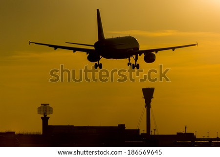 Aircraft at Sunset - stock photo
