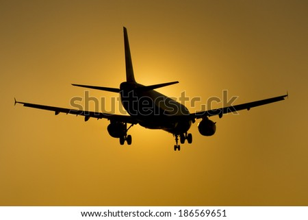 Aircraft at Sunset - stock photo