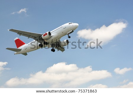 Aircraft at take-off - stock photo