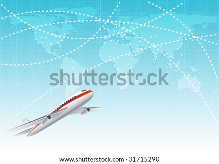 aircraft  at the blue world map - raster version - stock photo