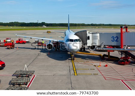aircraft at the gate - stock photo