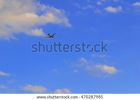 Aircraft blue sky as a background image.