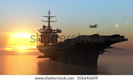 aircraft carrier - stock photo