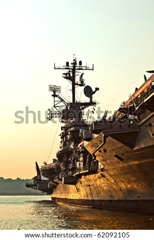 aircraft carrier as museum in New York - stock photo