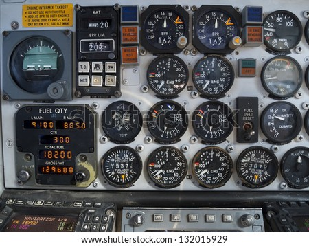 Aircraft cockpit: engine and fuel instruments in flight. - stock photo