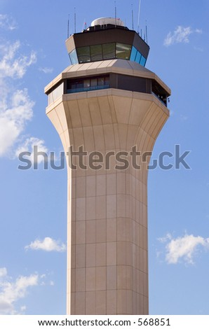Aircraft control tower - stock photo