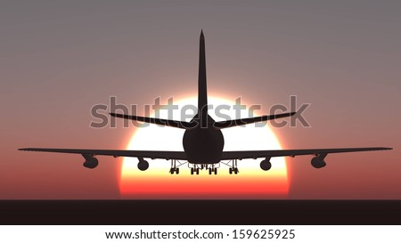 aircraft  during sundown plane sunset - stock photo