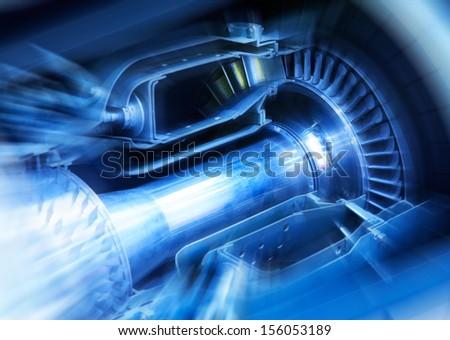 Aircraft engine cut-through  - stock photo