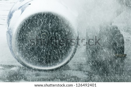 Aircraft engine in a snowstorm