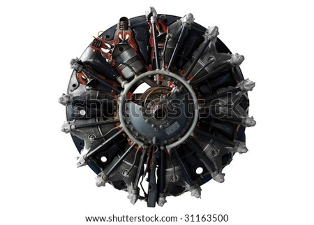 aircraft engine isolated - stock photo