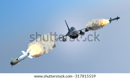 Aircraft fired a missiles - stock photo