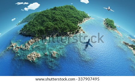 aircraft flies over a tropical islands - stock photo