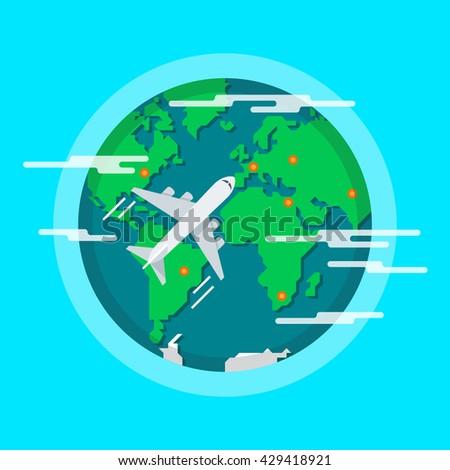 Aircraft Flying Around The World. Tourist flight. - stock photo