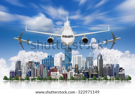 Aircraft flying over modern building in the business district,Travel Concept.