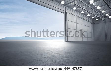 aircraft hanger door open car stageのイラスト素材 449147857