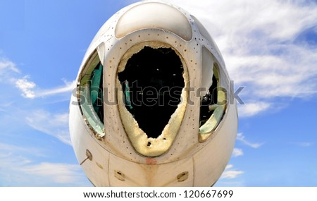 Aircraft has been abandoned and scrapped - stock photo